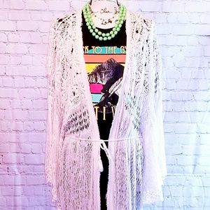Free People loose knit crocheted duster cardigan
